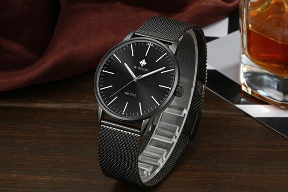 Relógio Wwoor Ultra Fino Slim Original Na Caixa + Cartão 3