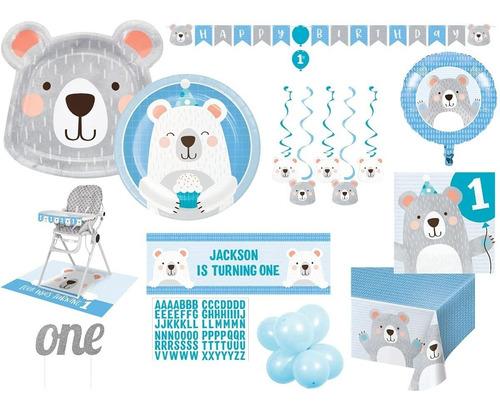 1er Cumpleaños Azul Niño Oso Polar Deluxe Decoración Y Vajil