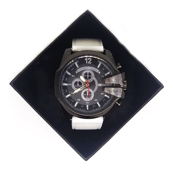 Relógio Branco Grande Esportivo Masculino Na Caixa Oferta
