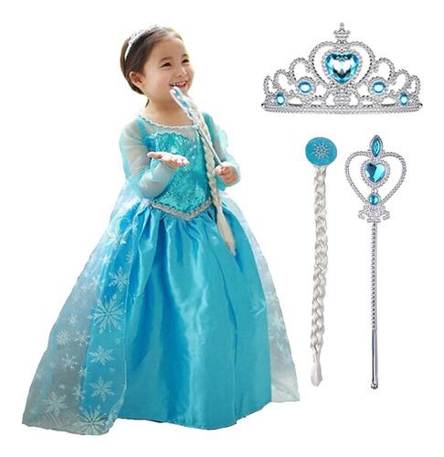 Vestido Infantil Fantasia Frozen Princesa Elsa Longo E Kit