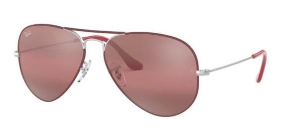 Oculos Sol Ray Ban Aviador Rb3025 9155ai 58 Bordô Lt Roxa