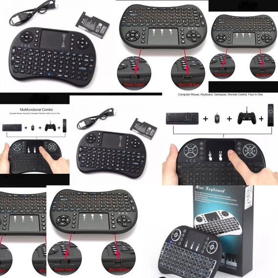 2mini Teclado Air Mouse Touch Sem Fio Tv Box Wireles Com Luz