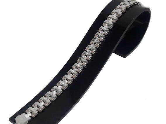 Pr01 Pulso Esclava Tejido Rolex Plata Ley 925 Taxco 20cmx8mm