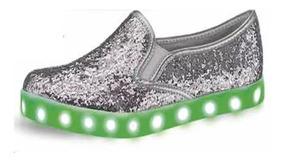 Tenis Luz Led Plateados Con Glitter 2403540