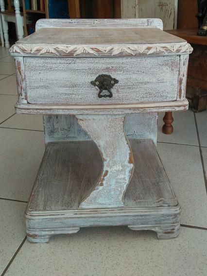 Criado Mudo Antigo Art Déco Restaurado Branco Patinado