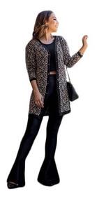 Cardigan Femino Kimono Casaco Estampa Animal Print Onça