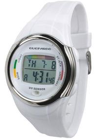Relógio Digital Indicador Uv Master White Alarme Guepardo