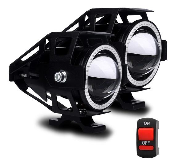 Par Farol Led Moto Universal Aluminio U7 2 Cores Disponíveis