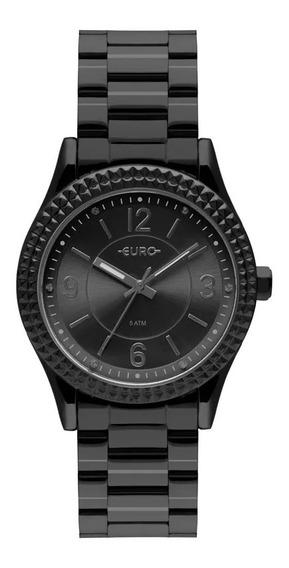 Relógio Euro Feminino Aro Spikes Preto Original C/ Nfe