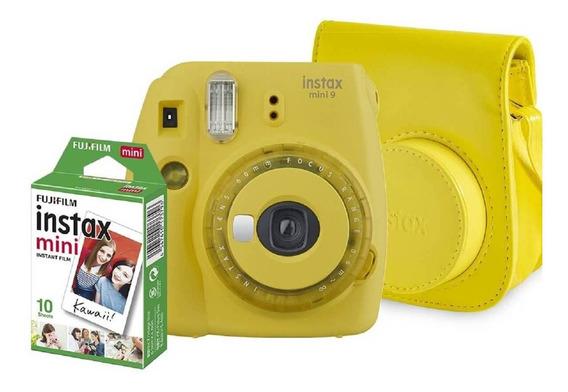 Kit Câmera Instax Mini 9 - Amarelo Banana: Bolsa + 10 Filmes