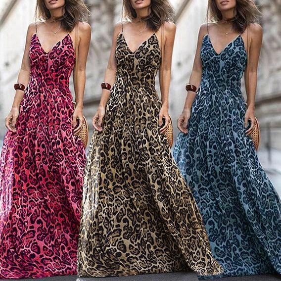 Mulheres Leopard Print Vestido Longo V Neck Spaghetti Ombro