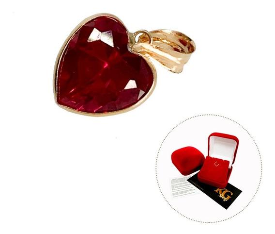 Pingente Coração Zircônia 8mm Vermelho Rubi Ouro 18k