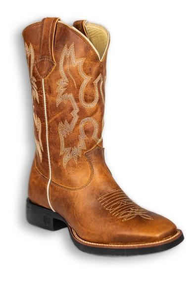 Bota Texana Classic Country Montana Caramelo Rodeio 100% Couro - Oferta!!!