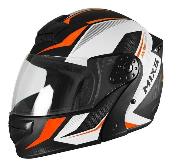 Capacete para moto escamoteável Mixs Gladiator Neo Fosco laranja tamanho 58