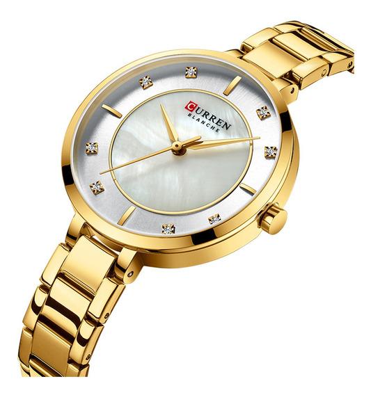 Reloj Curren Mujer Diamante Acero Elegante Original 9051