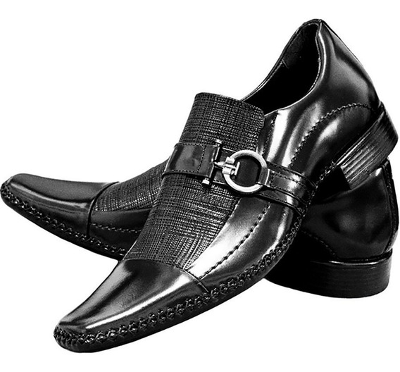 Sapato Social Verniz Luxo Couro Brilhoso Estiloso Gofer