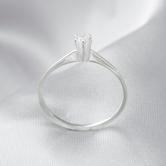 Anel De Prata Solitário Com Aro Fino E Zircônia Cristal