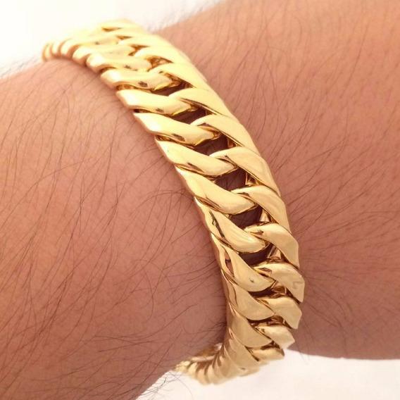 Pulseira Masculina Dourada Ouro 18k Banhada 11mm Polida