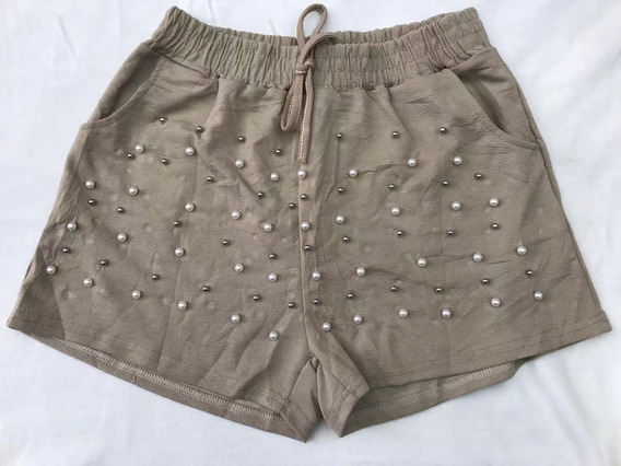 Short Feminino Com Pérolas Laco Amarrado Cintura Alta Verao
