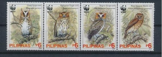 2004 Wwf Aves Buhos- Filipinas (sellos) Mnh