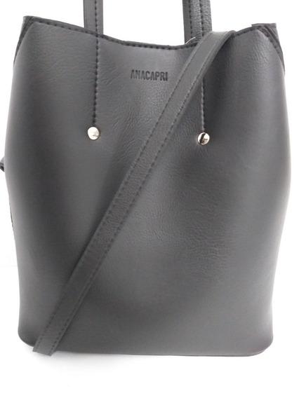 Bag Anacapri Black Tec. Bolsa Original Anacapri.