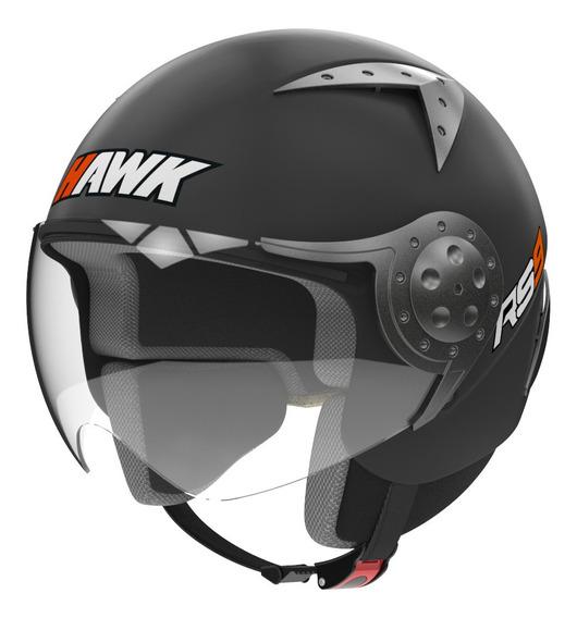 Casco Moto Hawk Rs9 Abierto Negro Mate Visor Oficial