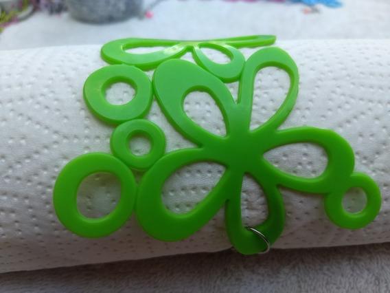 Pulseira Bracelete Maxi Flor 3 Flores Plástico Verde 24cm