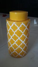 Potiche Cerâmica C/tampa Amarelo E Branco 31,5 Alt