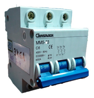 Breaker Magnetotermico 3x6a Camsmark Interruptor