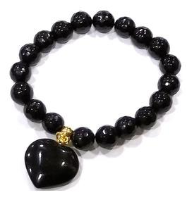 Pulseira Esferas Obsidiana Negra Pedra Natural Boas Energias