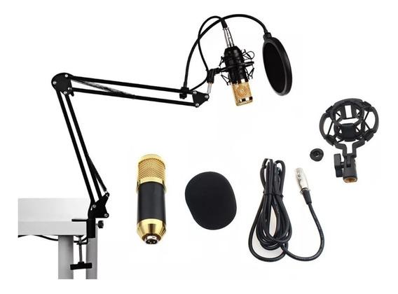 Microfone Condensador Pop Filter Aranha Pedestal P2 T10