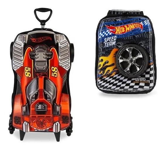 Kit Mochila Hot Wheels Com Lancheira 3d Original Maxtoy