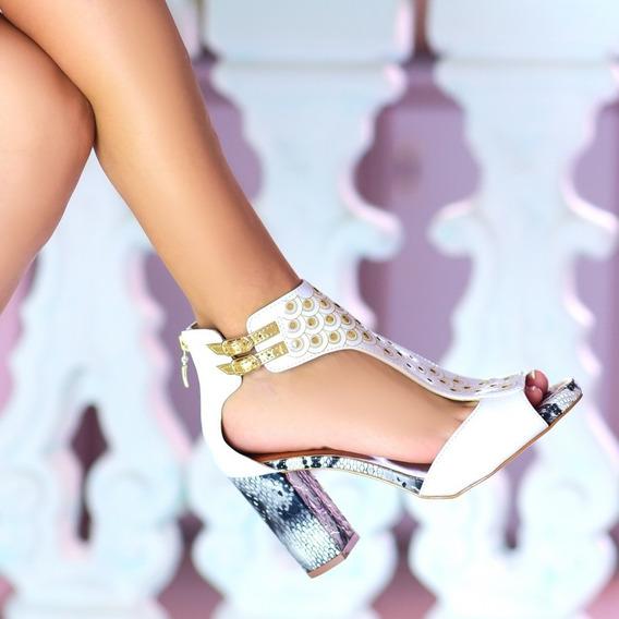Sandália Feminina,torricella Material Sintético Branco,ouro