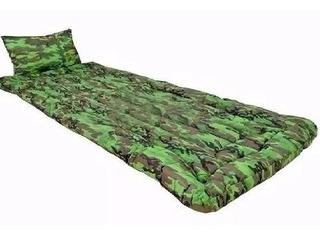 Kit 02 Colchonete Acampamento Com Travesseiro Solteiro