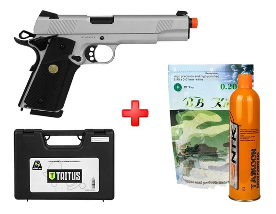 Pistola Colt 1911 728y Full Metal Airsoft Gbb Taitus + Bbs