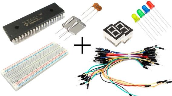 Kit Para Pic16f877a Protoboard Jumper Display Led