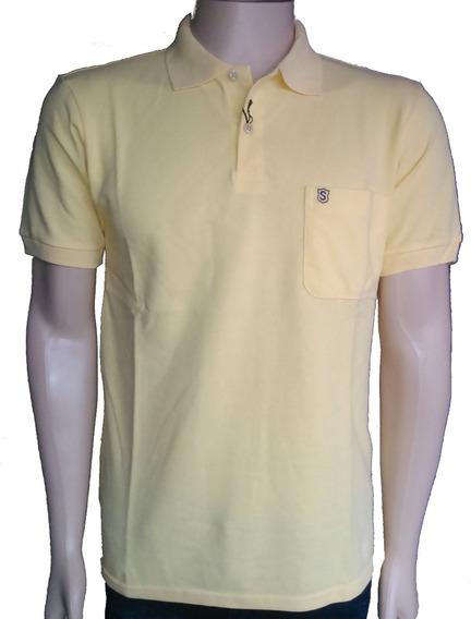 Camiseta Polo Masculina Lisa 100% Algodão P, M, G E Gg