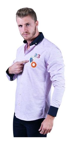 Camisa Porto Blanco Caballero Algodon Rosa Escudo