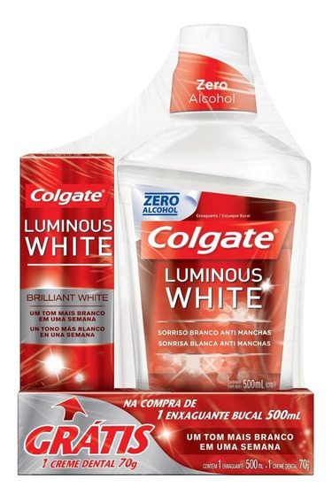 Enxaguante Bucal Colgate Luminous White 500ml - Grátis 1 Creme Dental