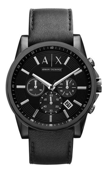 Relógio Masculino Armaniexchange Ax2098/0pn 44mm Couro Preto