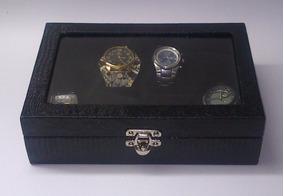 Caixa Estojo Porta 8 Relógios Couro Ecológico Vidro