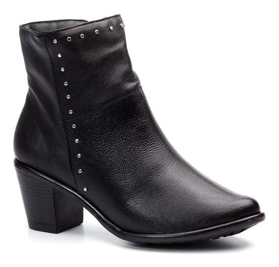 Bota Feminina Em Couro Roma Preto 7712 Doctor Shoes