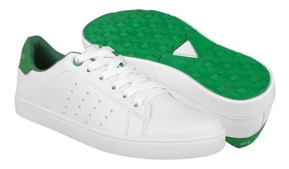 Tenis Casuales What´s Up Unisex Simipiel Blanco Con Verde 16
