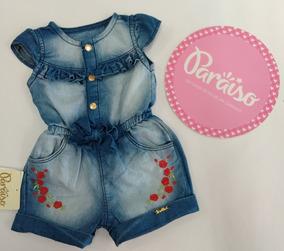 Macacão Jeans Bebê Menina Infantil Macaquinho Paraíso 153