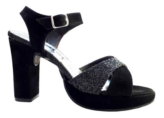 Sandalias Glitter -taco Palo 10cm- Números Grandes 42- 43-44