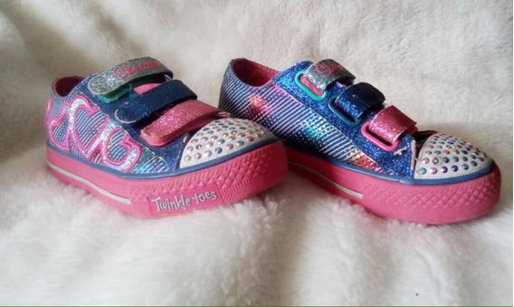Zapatos Skechers Para Niña Con Luces Modelo 10516 Tala 13,5