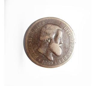 Moeda Antiga 20 Réis 1869 Bronze Petrus I I Bc Lote 002