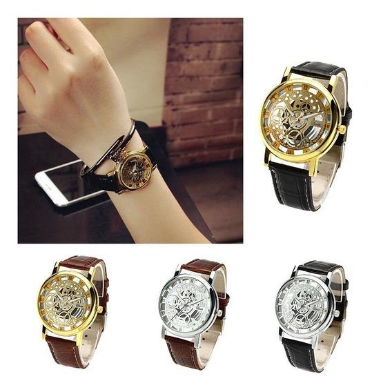 3 Unds Relógio Masculino Feminino Esqueleto Promoção Dourado