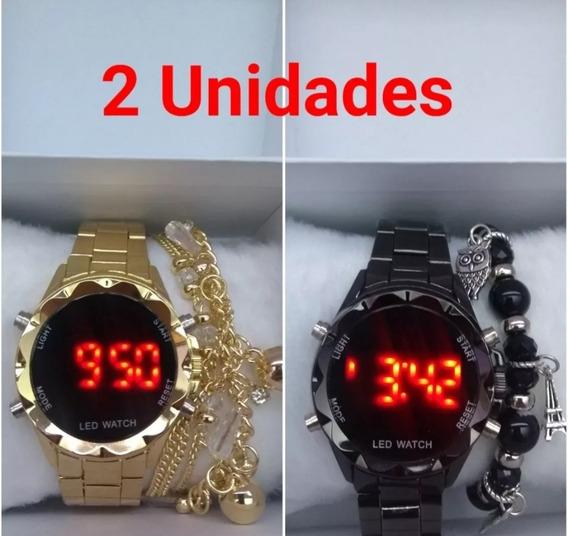 2 Relógios Femininos Digital Várias Cores Barato