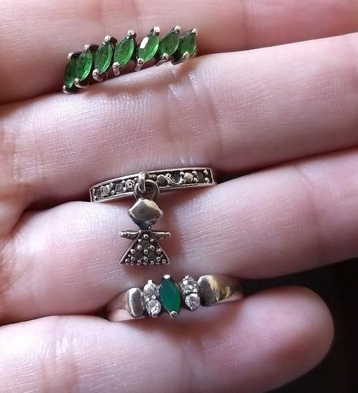 Kit Anéis Prata Meia Aliança Menina Verde